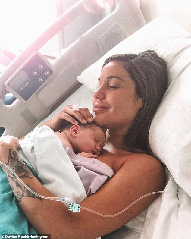 Motherhood: Davina welcomed a baby girl named Mila-Mae with partner Jaxon Manuel just three weeks ago