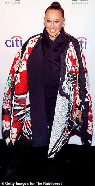 Regal cape: Donna Karan also made a statement in a quilted cape with an intricately colorful print