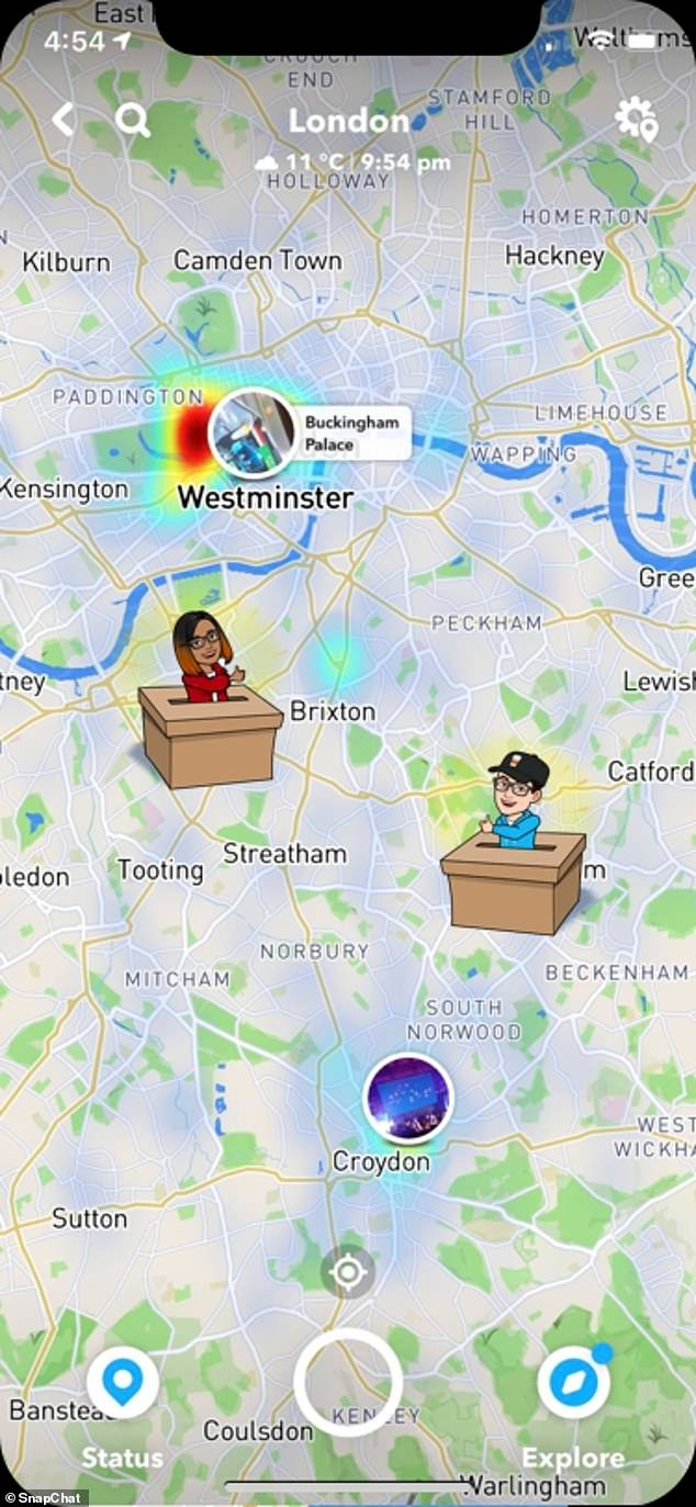 The mass Snapchat, sent out to all users in the UK using a geo-location setting similar to those found at large events, will be followed up with filters and lenses in the continued run up to the election. Pictured, what the Snap map will look like on election day