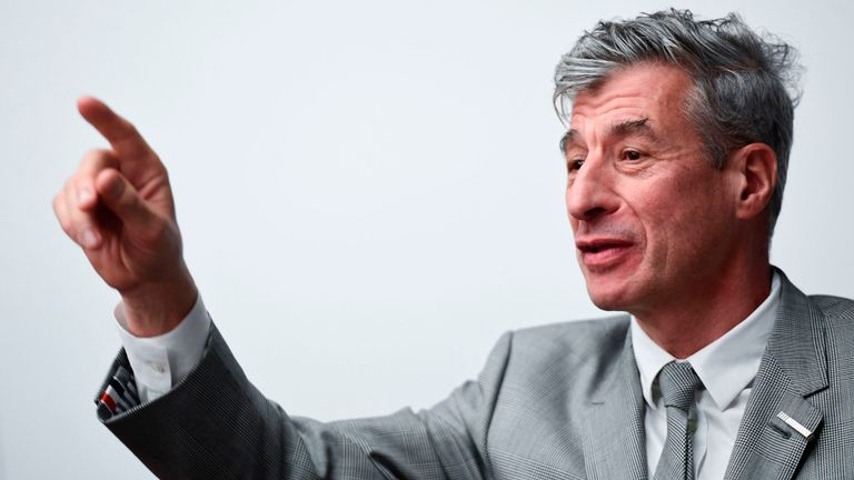 """Italian artist Maurizio Cattelan attends the launch of """"Arte Generali"""" by Italian insurance company Generali, a new offer dedicated to art collectors globally, on November 12, 2019 at Generali Group headquarters in Milan. - Arte Generali is a new offer dedicated to art collectors globally, including insurance solutions, concierge service and innovative tools. (Photo by MIGUEL MEDINA / AFP) (Photo by MIGUEL MEDINA/AFP via Getty Images)"""