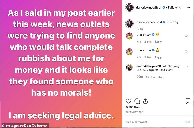 Denied;In an Instagram post the star branded the threesome claims 'complete rubbish' and said 'looks like they found someone who has no morals!' about Chloe's shocking interview