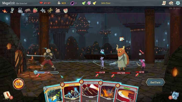 An adventurer faces off against three different enemies in an early dungeon in Slay the Spire. A hand of cards is fanned out in the foreground, with life bars overhead.