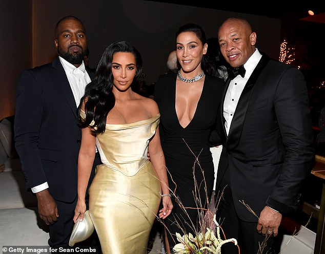 Star-studded: Kim Kardashian joined her husband Kanye West, legendary producer Dr. Dre and his wife Nicole Young at Diddy's belated birthday party, held at his $40million Holmby Hills mansion in Los Angeles on Saturday evening
