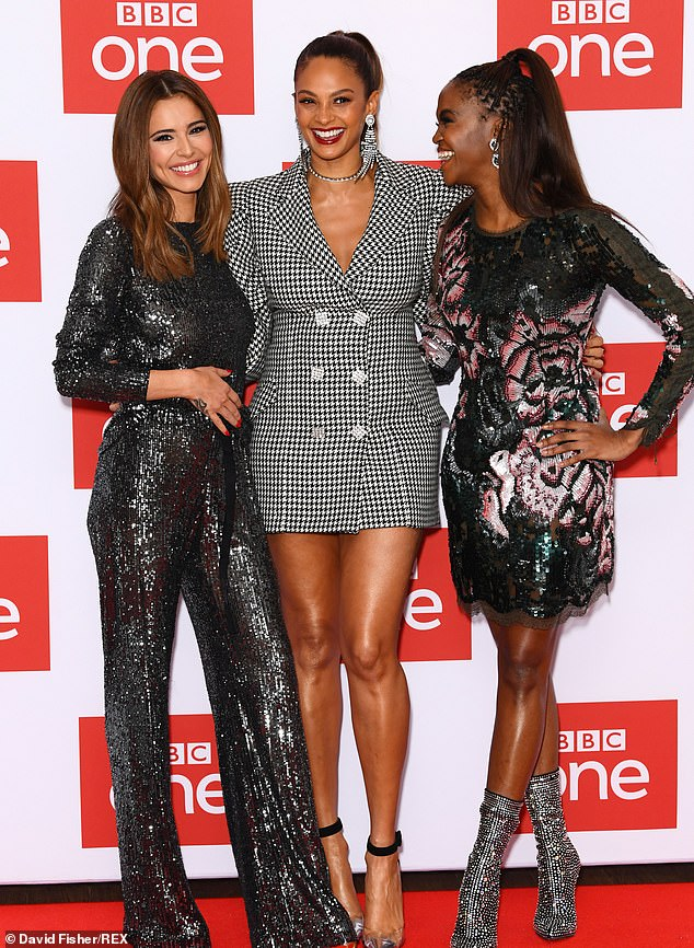 In good spirits: At the BBC event, the TV star giggled with South African beauty Oti, 29, and BGT star Alesha, 41