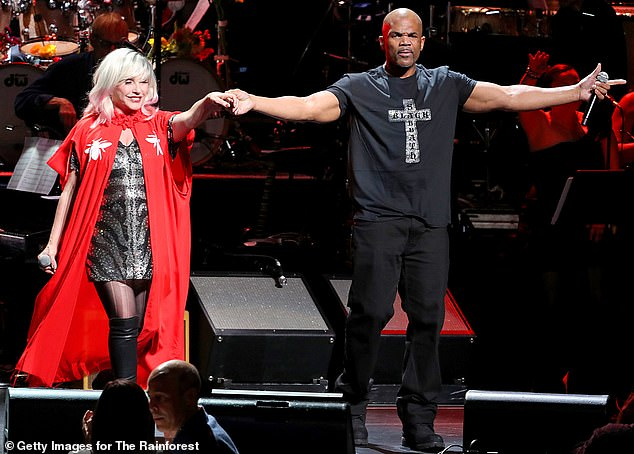 Sing along: Debbie Harry also graced the audience with a performance, accompanied onstage by DMC