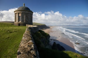 Mussenden Temple on the clifftop overlooking benone beach and downhill strand county londonderry derry northern irelandBA16HP Mussenden Temple on the clifftop overlooking benone beach and downhill strand county londonderry derry northern ireland