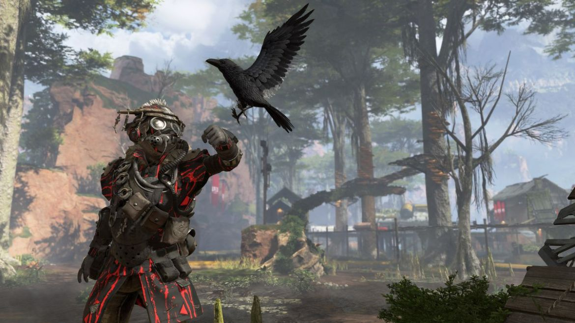 Apex Legends - Bloodhound's raven landing on their arm