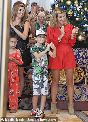Celebration: The pair joined contestants and their families as they welcomed winner Jacqueline Jossa