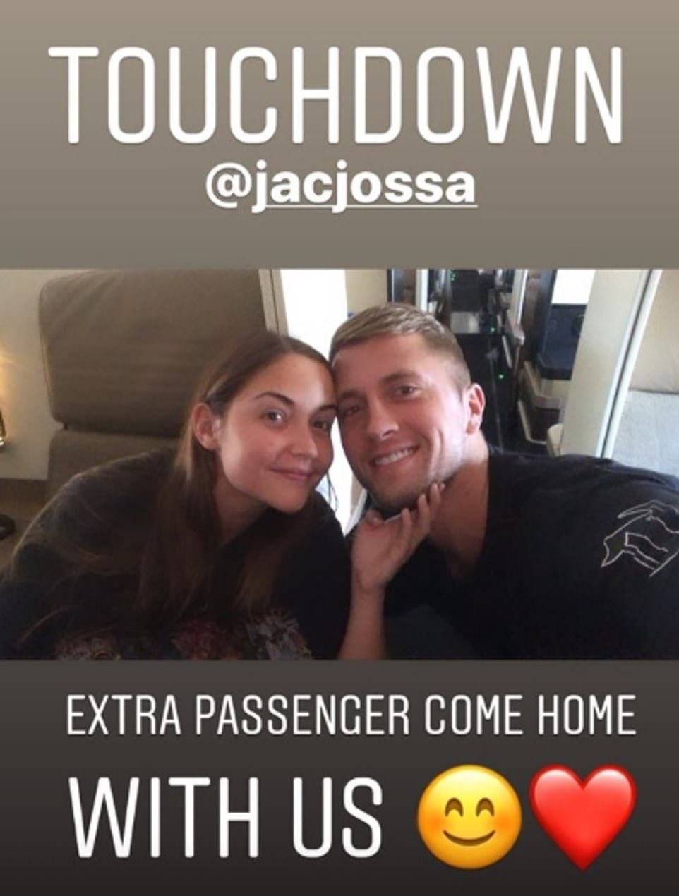 Romance:Former TOWIE star Dan shared a snap of the pair from the plane where Jacqueline leaned over to lovingly caress her other half's face