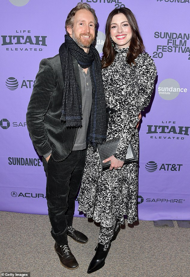 Date night: Hathaway stepped out at Sundance Film Festival with husband Shulman on Monday, after claiming people should stop panicking about 'diversity' in Hollywood.