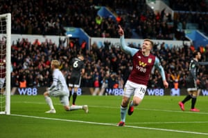 Villa Park erupts as Targett celebrates.