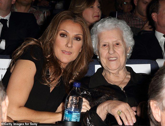 Sad goodbye: Celine Dion's mother Thérèse Tanguay Dion has passed away at the age of 92. The mother of 14 died on Thursday night with her family around her, according to Radio-Canada. Seen in 2010 in Florida