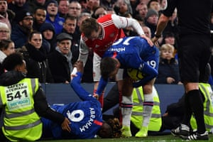 Tammy Abraham after crashing into the hoardings during the draw with Arsenal.