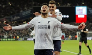 West Ham United v Liverpool<br>Alex Oxlade-Chamberlain celebrates scoring the 2nd Liverpool goal during the West Ham United v Liverpool F.A. Premier League match at the London Stadium on January 29th 2020 in London (Photo by Tom Jenkins)