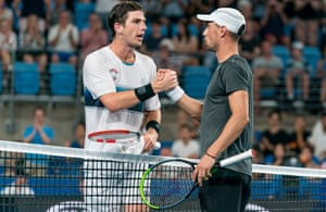 Cameron Norrie shakes hands with Dimitar Kuzmanov after his singles win