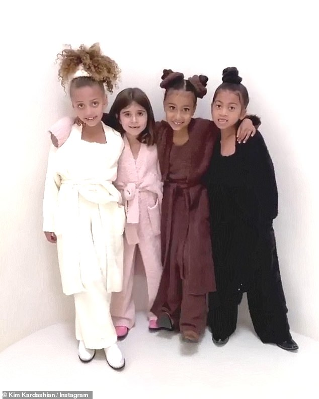Besties:Kim Kardashian made sure to create a few ensembles for her youngest fans when designing her SKIMS Cozy Collection sets