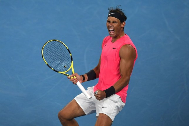 Spain's Rafael Nadal celebrates a point against Australia's Nick Kyrgios during their men's singles match on day eight of the Australian Open tennis tournament in Melbourne on January 27, 2020.