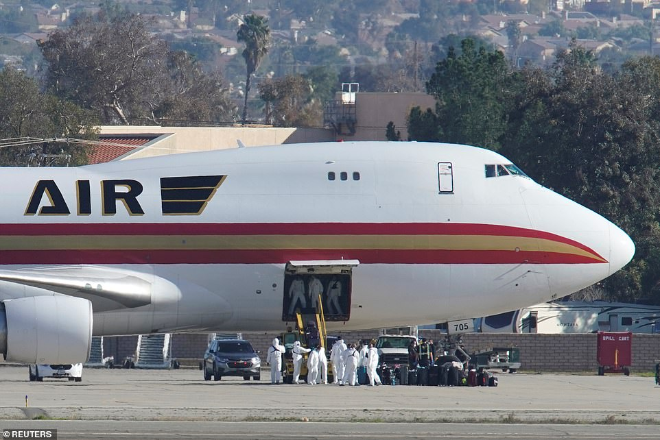 On Wednesday, an evacuation flight with 195 Americans onboard landed at March Air Reserve Base in Riverside, California (pictured). Those passengers are all now under federal quarantine. Anyone returning to the US after visiting the Hubei province where Wuhan is located within the prior two weeks will also face a mandatory quarantine, starting Sunday