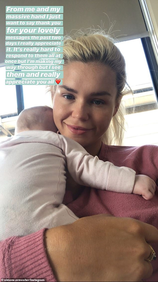 I appreciate you: Bachelor in Paradise star Simone Ormesher, 27, thanked fans for their support on Friday after she opened up about her battle with anxiety and postnatal depression