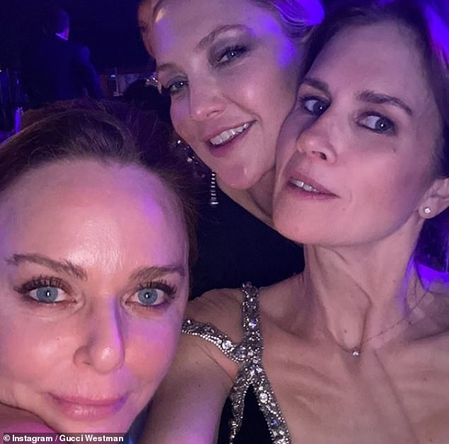 Loving it:Stella McCartney (left) posed for a fun selfie with Kate Hudson (top) on Friday as they danced the night away atDasha Zhukova's star-studded wedding (Gucci Westman right)