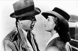 Humphrey Bogart and Ingrid Bergman in Casablanca.