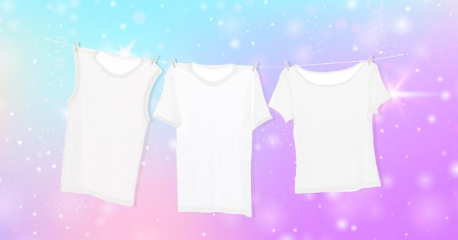 Three white t-shirts hanging on a clothes line with a sparkling background