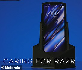 The Motorola Razr comes with a 'nightstand amplifier', pictured