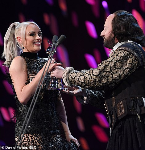 Serial Drama Performance: Katie McGlynn was presented her award by David Mitchell, who dressed up as Shakespeare