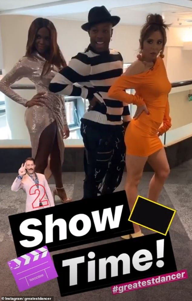 Work it: A glamorous Oti joined Todrick and Cheryl for a quick snap before the show