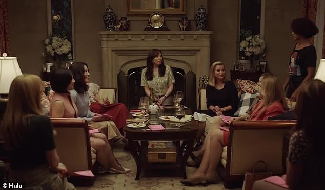 Book club:We see the two women together at a book club-type meeting in a gorgeous house, where Reese introduces Kerry's character to a group of predominantly white women
