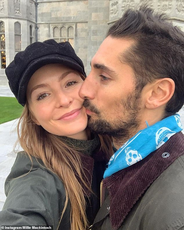 Mum and dad-to-be: Millie is currently around five months pregnant with her first child, with she and husband Hugo Taylor, 33, set to welcome their baby girl in May 2020