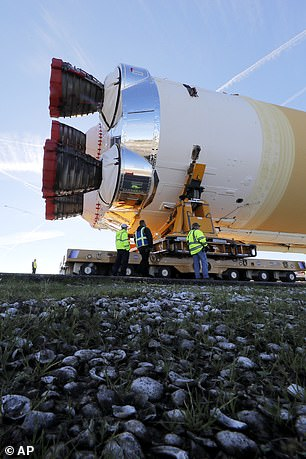 When the core arrives at the Stennis site, it will be lifted into a stand and subjected to comprehensive tests of both its avionics and propulsion systems as well as its four RS-25 engines (pictured), which will undergo an eight-minute test burn