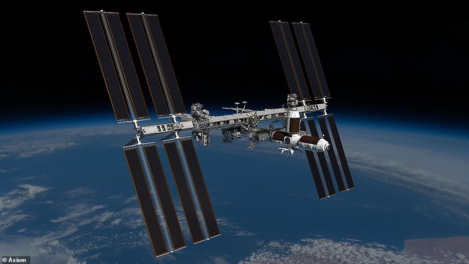 Concept shows the Axiom segment as attached to the International Space Station. The segment will detach before the ISS is decommissioned near the end of the decade