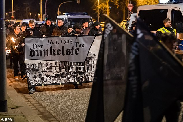 'While the causes of the Holocaust have attracted ample scholarly attention, its long-term sociopolitical consequences are less understood,' Professor Homola said. 'Our evidence proves that when it comes to political attitudes, these consequences are real and measurable even today.' Pictured, far-right demonstrators march in Magdeburg, Germany, on January 17