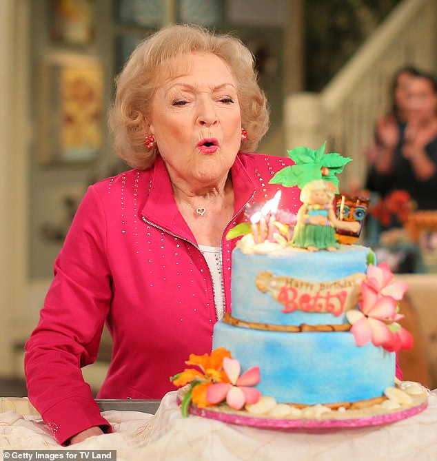 Celebrating: Betty at her 93rd birthday on the set of Hot in Cleveland in 2015 in Studio City