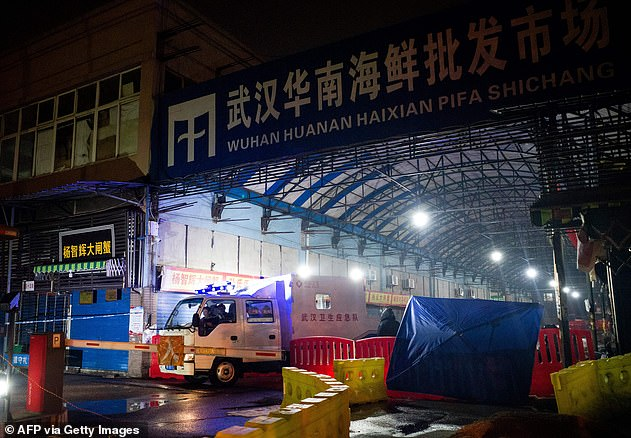 Forty-five cases have been contained in the Chinese city of Wuhan since December. The majority of patients have been traced to the Huanan Wholesale Seafood Market (pictured)