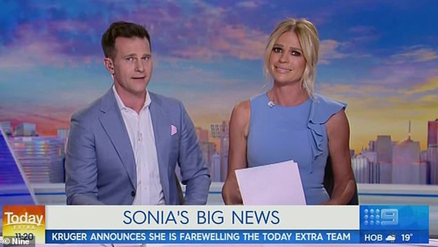 Moving on: In November, Sonia Kruger quit the Nine Network live on air during Today Extra (pictured). The blonde, who had been a fixture at the network for eight years, broke down as she revealed her plans to 'do something new' and 'spread her wings'