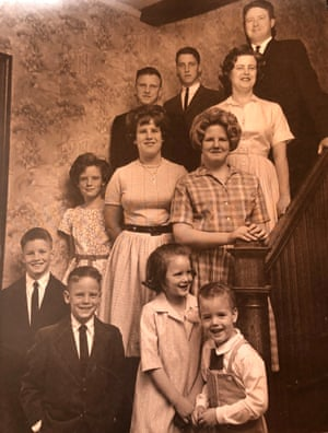Neil Mahoney (wearing a tie in front row) in a 1962 family portrait in Denver.