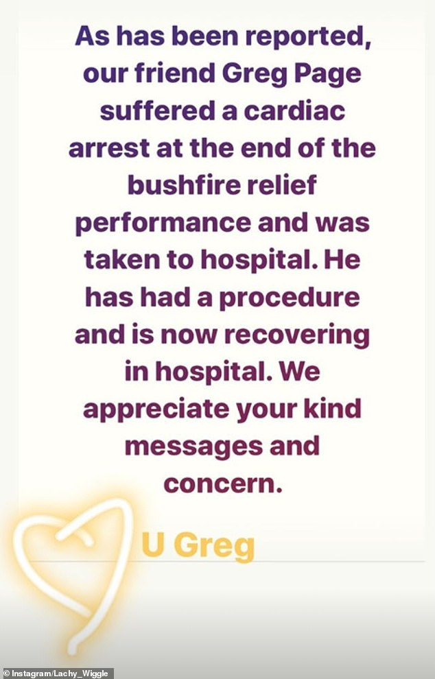 Statement:In a post on Instagram, Gillespie, 34, said that Page was 'recovering in hospital' following the incident