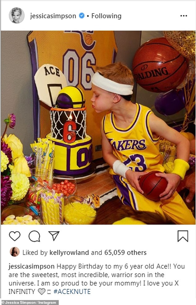 Hard day: In June, Jessica¿s son 6-year-old Ace had a Lakers-themed bash, which was decked out in the team¿s signature colors purple and yellows, showing the family¿s loyalty