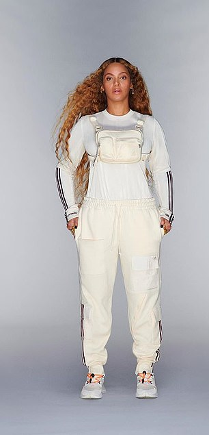Sport-ready: The singer looked ready to hit the slopes in a white thermal paired with matching joggers