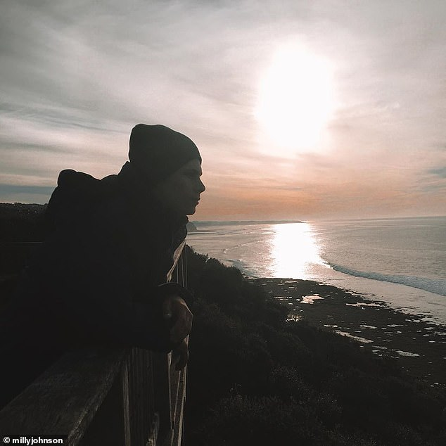 'When the person you need to talk to is no longer here': Earlier this month, Milly shared a heartbreaking photo of Micah watching the sunset on Instagram and said how much she missed him in an accompanying quote