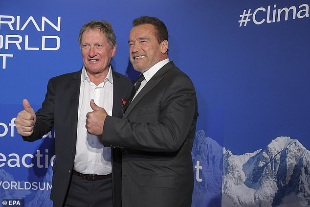 Thumbs up: Arnold and his daughter Christina were joined at the event by the likes of former alpine ski racers Lindsey Vonn and Franz Klammer (pictured)