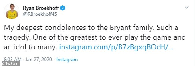 Tributes: As news of Kobe's death sends shockwaves around the world, Australian NBA players including Melbourne-born Ryan Broekhoff have shared their tributes to the late LA Lakers star