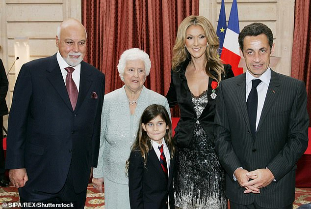 All together: The My Heart Will Go On crooner with her mother as well as her husband Rene Angelil, and son Rene Charles in Paris in 2008; they are with Nicolas Sarkozy