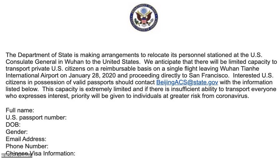 The State Department announced (pictured) that it is evacuating US citizens from Wuhan on Tuesday