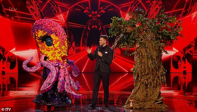 Time to go: Teddywas made to reveal his identity after judges Divina McCall, Rita Ora , Jonathan Ross and Ken Jeong put him in the bottom alongside Octopus