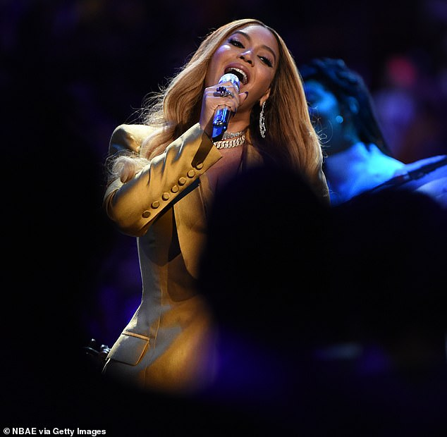 Tribute:Beyonce is seen performing during the tribute to Kobe Bryant on Monday