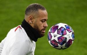 Neymar warms up in Dortmund.