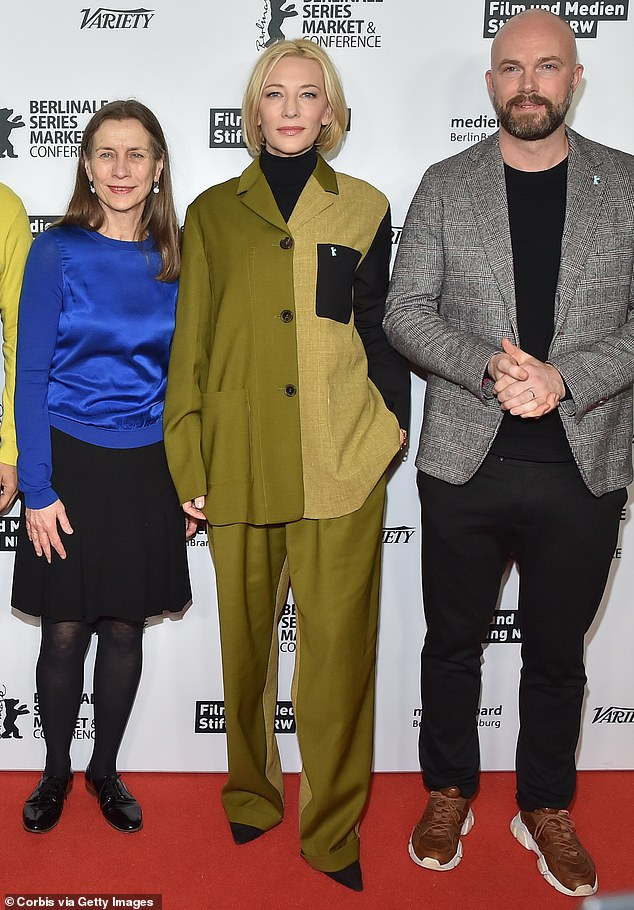 Stylish:Cate Blanchett, 50, cut a chic figure in classic khaki green co-ords on Wednesday to attend the photocall for her new TV venture at the Berlin Film Festival